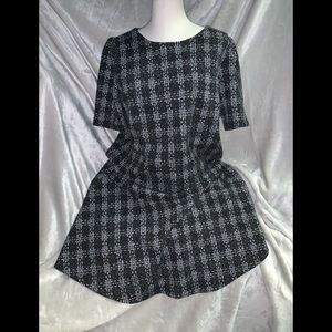 Black plaid swing dress